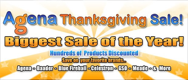 Agena AstroProducts Thanksgiving Sale